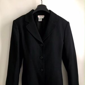 Vintage Talbots Worsted Wool Long Black Blazer Sz4